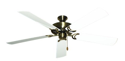 """Picture of Riviera Antique Brass with 60"""" Outdoor Pure White Blades"""