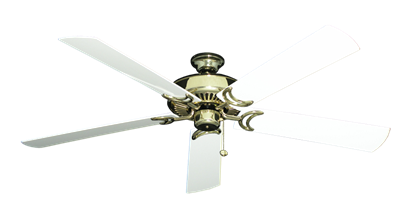 """Picture of Riviera Bright Brass with 60"""" Outdoor Pure White Blades"""