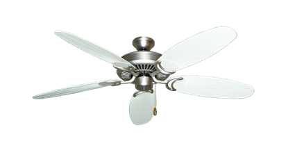 """Picture of Riviera Satin Steel with 52"""" Outdoor Leaf Pure White Blades"""