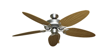 """Picture of Riviera Satin Steel with 52"""" Outdoor Palm Walnut Blades"""