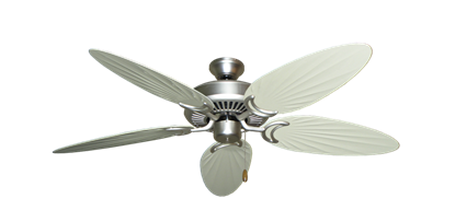 """Picture of Riviera Satin Steel with 52"""" Outdoor Palm Antique White Blades"""