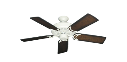 """Picture of Riviera Matte Pure White with 44"""" Distressed Hickory Blades"""