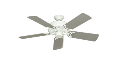 """Picture of Riviera Matte Pure White with 44"""" Satin Steel (painted) Blades"""