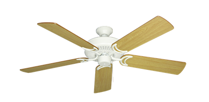 """Picture of Riviera Matte Pure White with 52"""" Honey Oak Blades"""