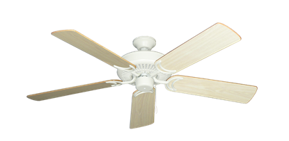 """Picture of Riviera Matte Pure White with 52"""" Bleached Oak Gloss Blades"""