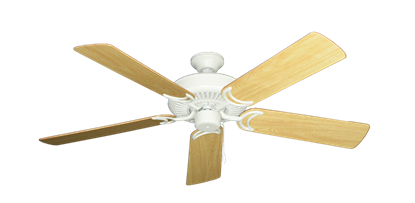 """Picture of Riviera Matte Pure White with 52"""" Honey Oak Gloss Blades"""