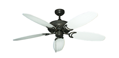 """Atlantis Oil Rubbed Bronze with 52"""" Outdoor Wicker Pure White Blades"""