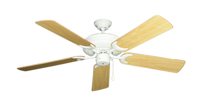 """Picture of Raindance Pure White with 52"""" Honey Oak Gloss Blades"""