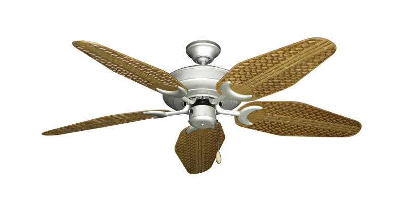 """Picture of Raindance Brushed Nickel with 52"""" Outdoor Weave Walnut Blades"""