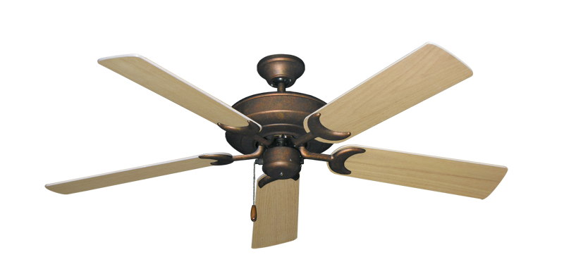 """Picture of Raindance Burnished Copper with 52"""" UnMotor Finished Oak Blades"""