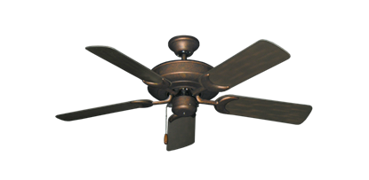 """Picture of Raindance Burnished Copper with 44"""" Outdoor Oil Rubbed Bronze Blades"""