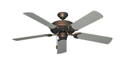 """Picture of Raindance Burnished Copper with 52"""" Outdoor Brushed Nickel Blades"""