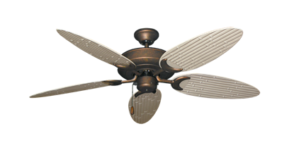 """Picture of Raindance Burnished Copper with 52"""" Outdoor Bamboo Distressed White Blades"""