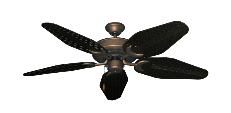 "Picture of Raindance Burnished Copper with 52"" Outdoor Weave Oil Rubbed Bronze Blades"