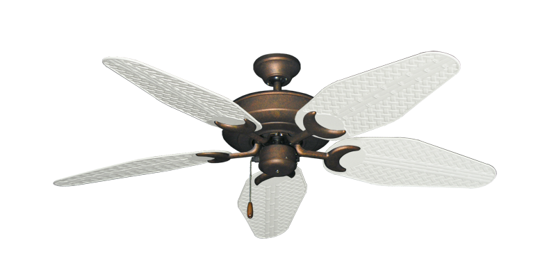 """Picture of Raindance Burnished Copper with 52"""" Outdoor Weave Pure White Blades"""