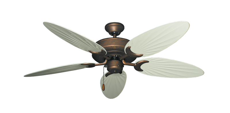 """Picture of Raindance Burnished Copper with 52"""" Outdoor Palm Antique White Blades"""