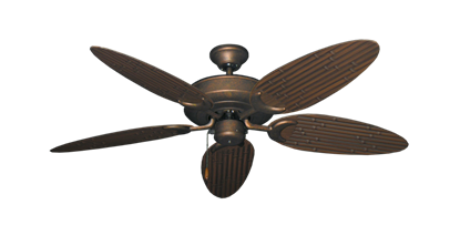 """Picture of Raindance Burnished Copper with 52"""" Outdoor Bamboo Oil Rubbed Bronze Blades"""