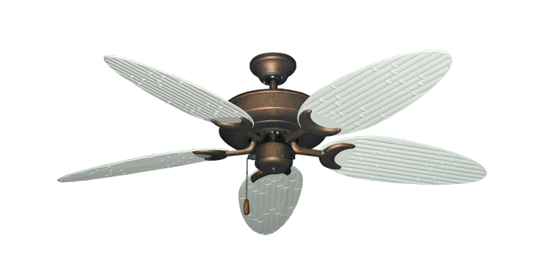 "Picture of Raindance Burnished Copper with 52"" Outdoor Bamboo Pure White Blades"