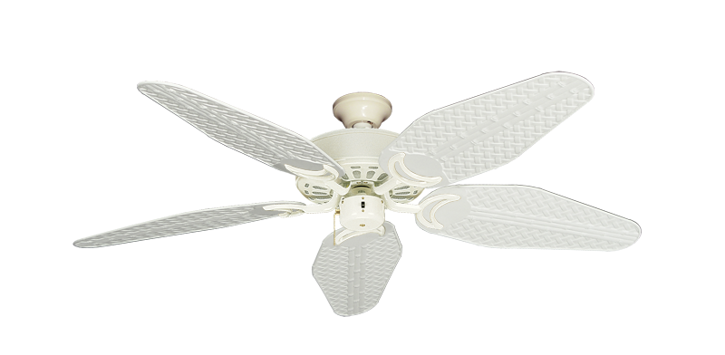 """Picture of Dixie Belle Antique White with 52"""" Outdoor Weave Pure White Blades"""