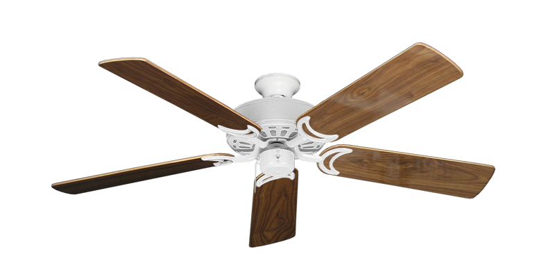 """Picture of Dixie Belle Pure White with 52"""" Walnut Gloss Blades"""