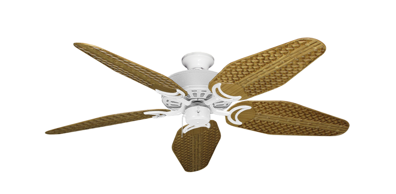 """Picture of Dixie Belle Pure White with 52"""" Outdoor Weave Walnut Blades"""