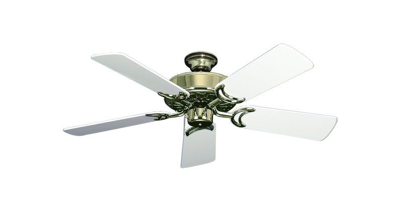 """Picture of Dixie Belle Bright Brass with 44"""" Pure White Gloss Blades"""