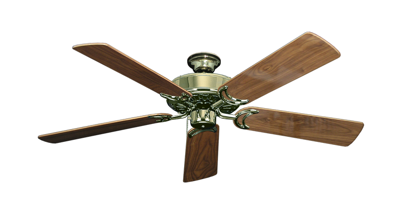 "Picture of Dixie Belle Bright Brass with 52"" Walnut Gloss Blades"