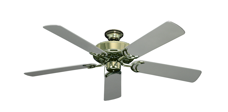 """Picture of Dixie Belle Bright Brass with 52"""" Outdoor Brushed Nickel Blades"""