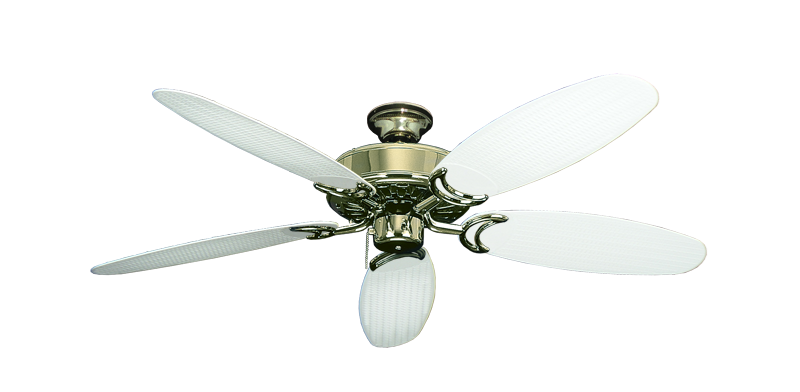 """Dixie Belle Bright Brass with 52"""" Outdoor Wicker Pure White Blades"""