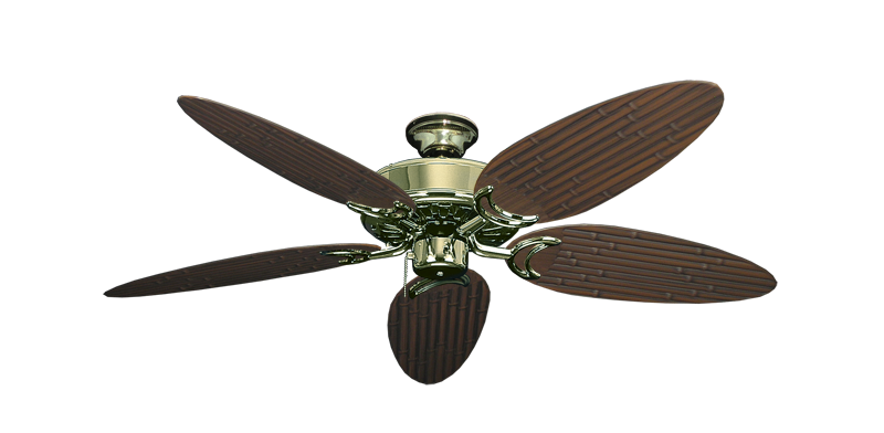 "Picture of Dixie Belle Bright Brass with 52"" Outdoor Bamboo Oil Rubbed Bronze Blades"