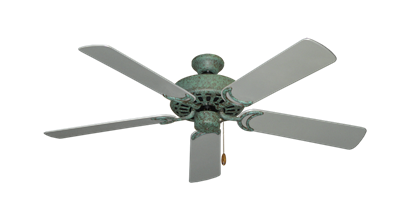 """Picture of Dixie Belle Verde Green with 52"""" Outdoor Brushed Nickel Blades"""