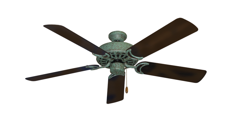 """Dixie Belle Verde Green with 52"""" Outdoor Oil Rubbed Bronze Blades"""