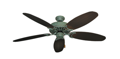 """Picture of Dixie Belle Verde Green with 52"""" Outdoor Wicker Oil Rubbed Bronze Blades"""
