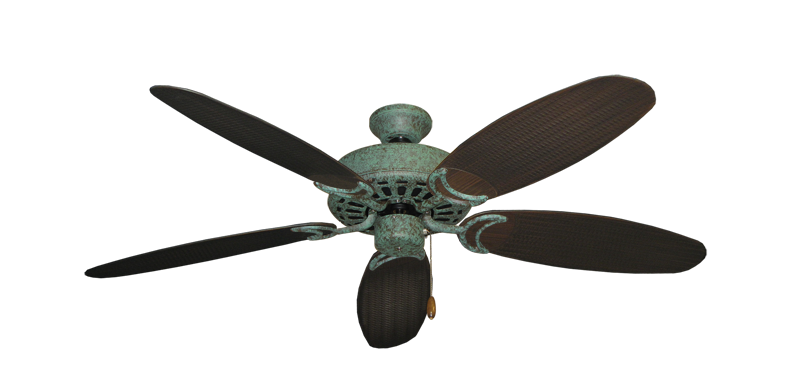 """Dixie Belle Verde Green with 52"""" Outdoor Wicker Oil Rubbed Bronze Blades"""