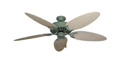 """Picture of Dixie Belle Verde Green with 52"""" Outdoor Bamboo Distressed White Blades"""