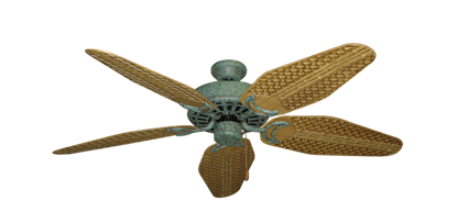 """Picture of Dixie Belle Verde Green with 52"""" Outdoor Weave Walnut Blades"""