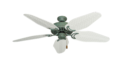 """Picture of Dixie Belle Verde Green with 52"""" Outdoor Weave Pure White Blades"""