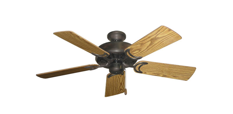 "Picture of Dixie Belle Oil Rubbed Bronze with 44"" Oak Gloss Blades"
