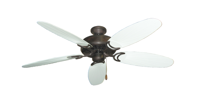 """Picture of Dixie Belle Oil Rubbed Bronze with 52"""" Outdoor Leaf Pure White Blades"""