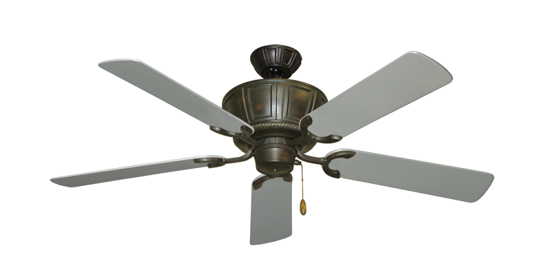 """Centurion Oil Rubbed Bronze with 52"""" Outdoor Brushed Nickel Blades"""