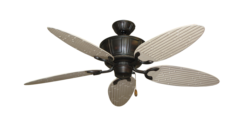 """Centurion Oil Rubbed Bronze with 52"""" Outdoor Bamboo Distressed White Blades"""