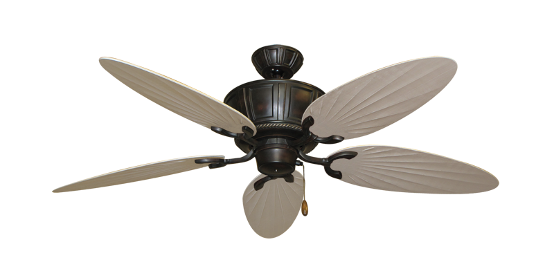 "Centurion Oil Rubbed Bronze with 52"" Outdoor Palm Distressed White Blades"