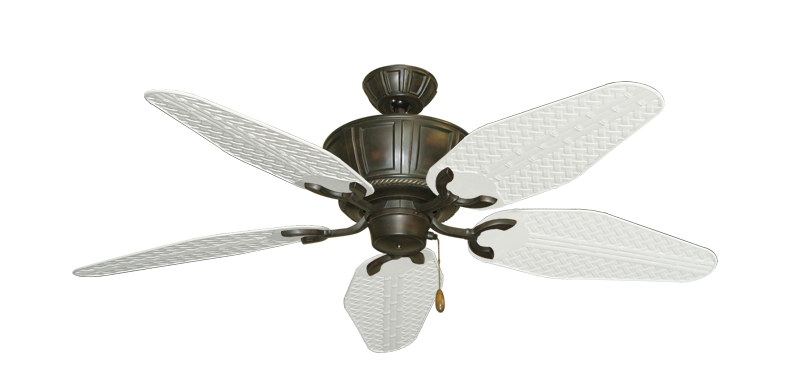 """Centurion Oil Rubbed Bronze with 52"""" Outdoor Weave Pure White Blades"""