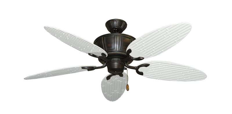 """Centurion Oil Rubbed Bronze with 52"""" Outdoor Bamboo Pure White Blades"""