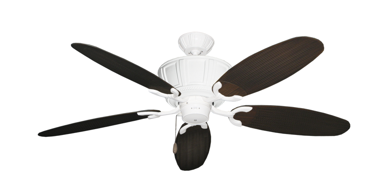 "Picture of Centurion Pure White with 52"" Outdoor Wicker Oil Rubbed Bronze Blades"