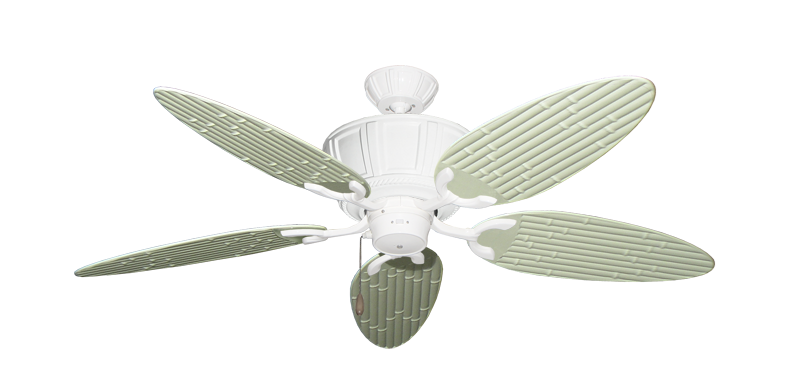 """Centurion Pure White with 52"""" Outdoor Bamboo Antique White Blades"""
