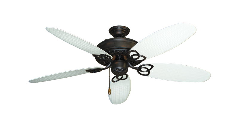 """Picture of Renaissance Oil Rubbed Bronze with 52"""" Outdoor Wicker Pure White Blades"""