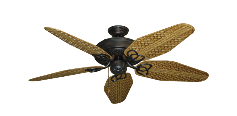 """Picture of Renaissance Oil Rubbed Bronze with 52"""" Outdoor Weave Walnut Blades"""
