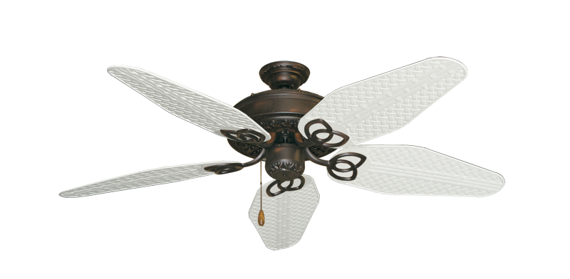 """Picture of Renaissance Oil Rubbed Bronze with 52"""" Outdoor Weave Pure White Blades"""