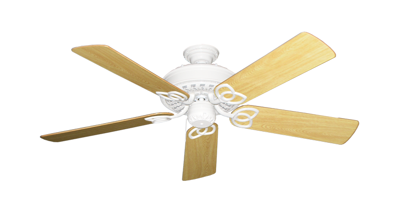 """Picture of Renaissance Pure White with 52"""" Honey Oak Gloss Blades"""